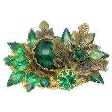 DeMARIO Vintage Floral Emerald Green Rhinestone Gilt Brooch Pin