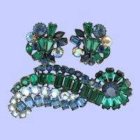 Signed CLAUDETTE   Emerald Sapphire Keystone Brooch and Earrings Set