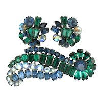 Signed CLAUDETTE   Emerald Sapphire Keystone Brooch and Earrings Set