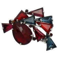 Vintage High End Designer Kite Stone Rhinestone Rhodium Plate Brooch Pin