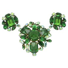 Vintage Signed SCHREINER New York Green Brooch Pin and Earring Set