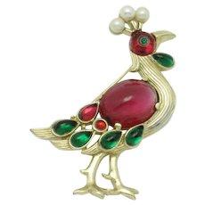 Vintage Signed TRIFARI 1960s Moghul Style Peacock Brooch Pin