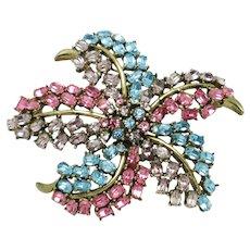 Vintage CINER  Starfish Rhinestone Figural Brooch Pin