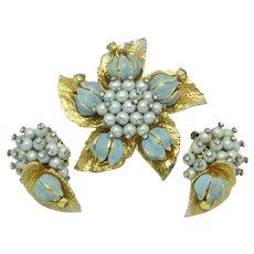 ALICE CAVINESS Blue Flower Floral  Brooch Earrings Set