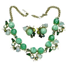 Julio Marsella Rhinestone Moonstone Green Necklace Earrings SET