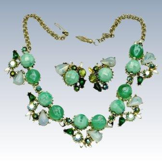 Julio Marsella Rhinestone Moonstone Green Necklace Earrings SET