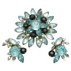 DESIGNER  Aqua Molded Glass Rhinestone Brooch Earrings SET