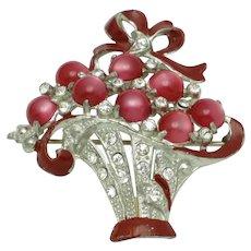 CORO 1940s Moonstone Moonglow Flower Basket Figural Brooch