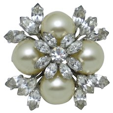 Dated 1960 CHRISTIAN DIOR Germany Glass Pearl Rhinestone Brooch