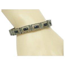 WELLS STERLING Art Deco Sapphire Paste Link Bracelet