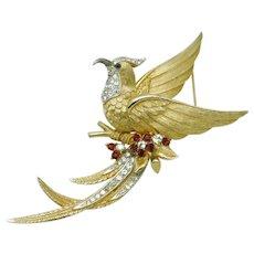 Vintage Signed BOUCHER  Bird of Paradise Rhinestone Figural Brooch Pin