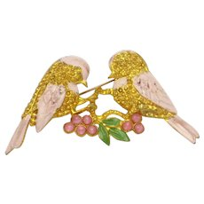 ART DECO  Birds on a Branch  Pink Moonstone Enamel Brooch