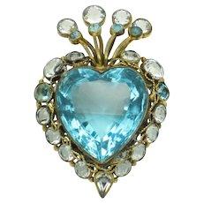 Rare 1946 HOBE Aqua Crystal Rhinestone Heart Figural Brooch Pin
