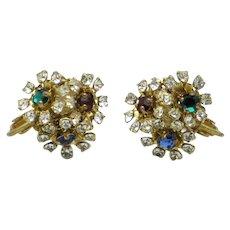 MIRIAM HASKELL Ruby Emerald Sapphire Rhinestone Flower Floral Earrings