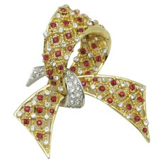 BOUCHER Figural Brooch Ruby Red Clear Rhinestone Bow Pin