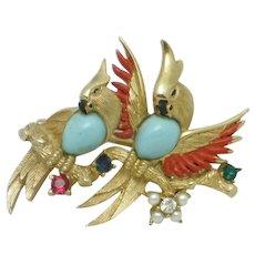 Vintage BOUCHER Parrot's of Paradise  Bird Birds Figural Brooch