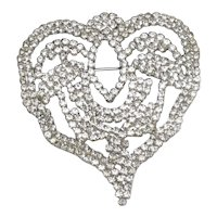 Large PAULINE TRIGERE Runway Couture  Rhinestone Heart Brooch Pin