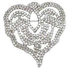 Large PAULINE TRIGERE Runway Couture  Rhinestone Heart Brooch Pin
