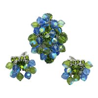 ALICE CAVINESS Brooch Earring SET  Blue Green Crystal Rhinestone