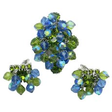 ALICE CAVINESS Brooch Earring SET  Blue Green Crystal Rhinestone