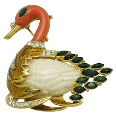 Signed HATTIE CARNEGIE  Figural Swan Brooch Pin
