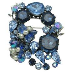 ORIGINAL By ROBERT Brooch Blue Crystal Rivoli Pearl Pin