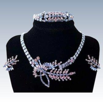 JAY FLEX STERLING Rhinestone Necklace Bracelet Earrings Set Rare