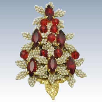 STANLEY HAGLER Christmas Tree Figural Brooch Red Rhinestone Seed Pearl Pin