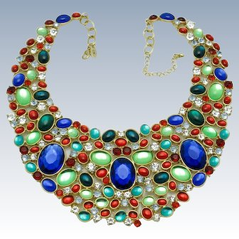 Vintage SCAASI Cabochon Jewels of India Moghul Runway Bib Necklace