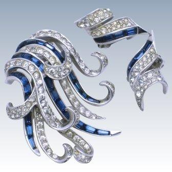 BOUCHER Sapphire Baguette Rhinestone Ribbons Brooch Earrings SET