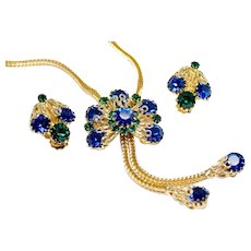 Vintage  Blue & Emerald  Lariat Necklace and Earrings SET