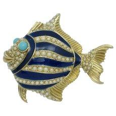 CINER Figural Fish Brooch Blue Enamel Crystal Pin