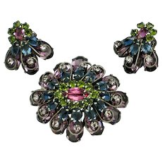 Ornate Signed SCHREINER New York  Brooch or Pendant and Earrings SET