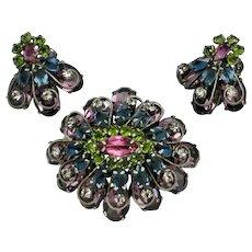Signed SCHREINER New York  Brooch Pendant Earrings SET