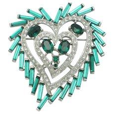 Vintage Heart Brooch Pin Emerald Baguette Rhinestone
