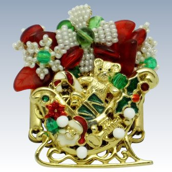 STANLEY HAGLER Christmas Figural Sleigh Brooch Pin