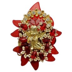 STANLEY HAGLER Christmas Angel Cherub Red  Figural Brooch Pin