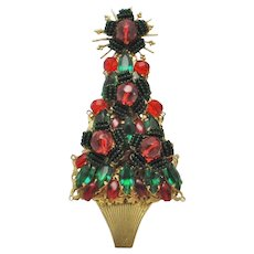 STANLEY HAGLER  Figural Christmas Tree Pin Green Red Brooch