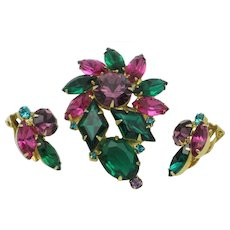 Vintage Kite Stone Rhinestone  Brooch Earring SET Gorgeous