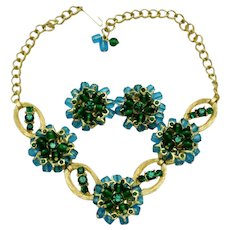 Vintage Necklace Earring SET Glass Beads Rhinestones Gorgeous