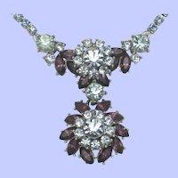 Vintage CROWN TRIFARI Double Pendant Rhinestone Necklace