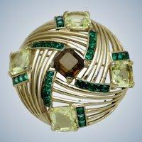BOUCHER  Emerald Citrine Topaz Rhinestone Brooch Pin