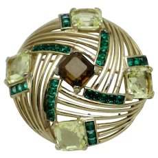 BOUCHER  Emerald Citrine Topaz Rhinestone Brooch Pin