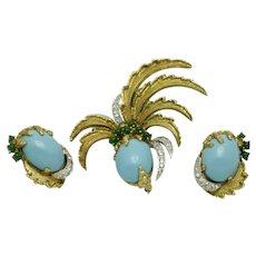 Rare JOMAZ Pineapple Brooch Earrings SET