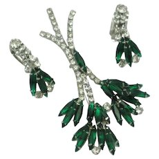 Vintage Designer Emerald Green  Floral Brooch Earrings SET