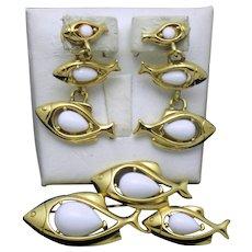 TRIFARI TM Brooch and Earring School of Fish Set
