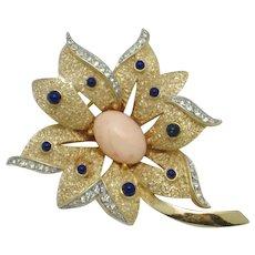 CROWN TRIFARI  Figural Flower Brooch Pin Rhinestone Cabochon