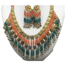 ART DECO Coral and Turquoise Bib Necklace and Drop Earrings SET