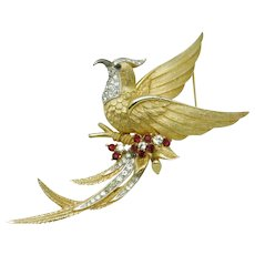 BOUCHER  Gold Plated Rhinestone Bird Of Paradise Figural Brooch