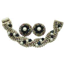 HOBE  Crystal Faux Pearl Bracelet and Earrings Set